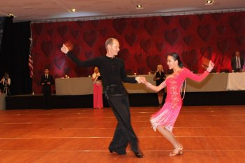 Couple having fun participation in dance competiti