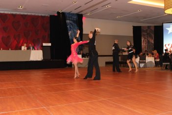 Couple competing in ballroom dancing