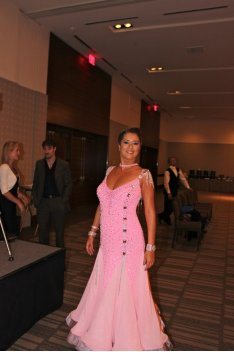 Ballroom Dancer in pink dance gown
