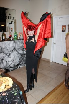 Woman in vampire costume